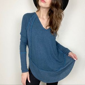 Free people blue waffle knit thermal tunic top